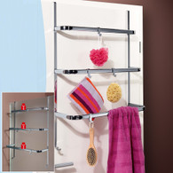 Over Door Screen Towel Rail 3 Bars 4 Hooks Bath Caddy Bathroom Hanger Rack