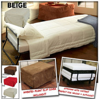 Ottoman Folding Bed Foldable Lounge Sofa Foot Stool with Invert Pleat Slip Cover + Casters (Beige)