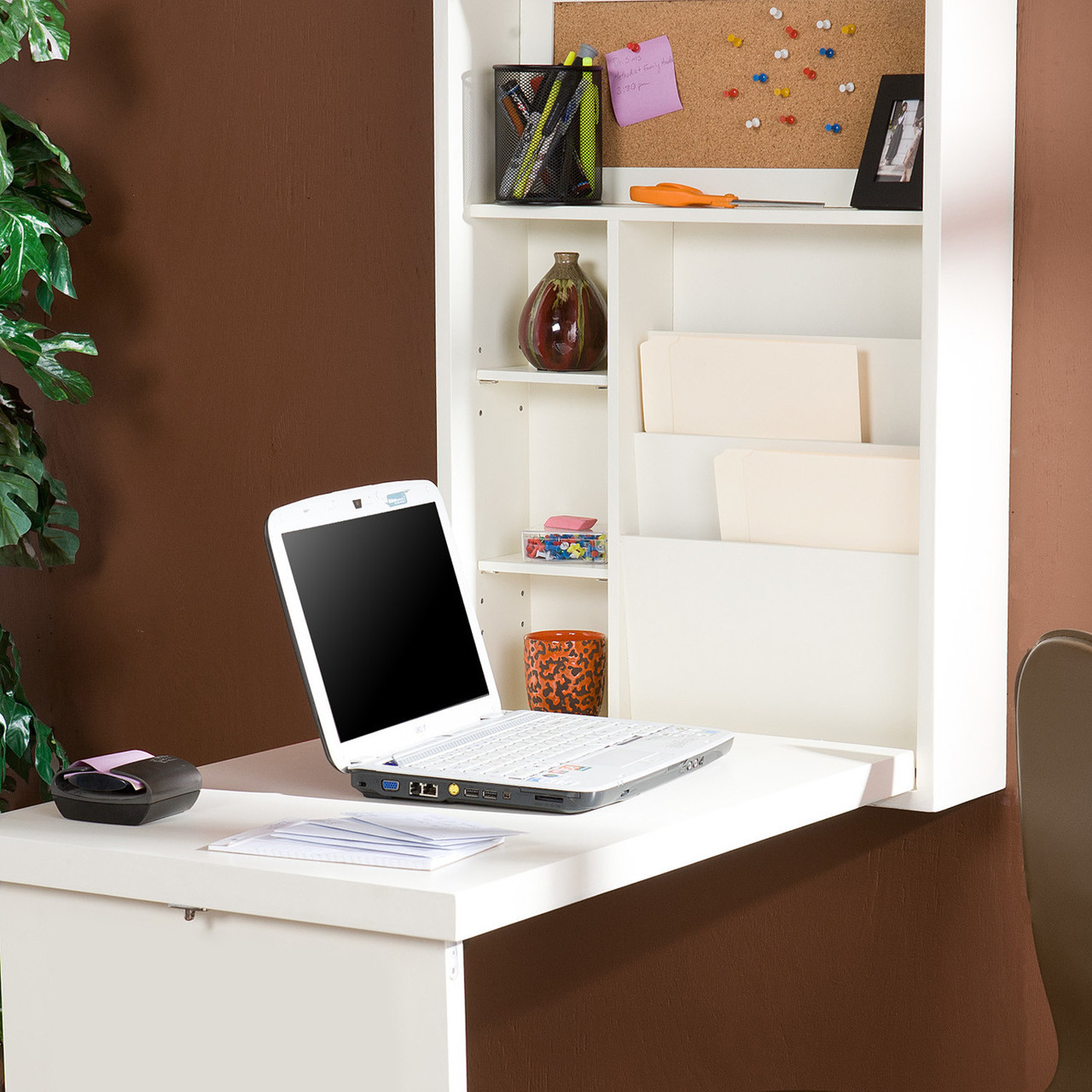 Wall Mount Fold Out Convertible Desk Computer Laptop Writing
