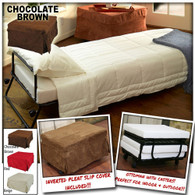 Ottoman Folding Bed Foldable Lounge Sofa Foot Stool with Invert Pleat Slip Cover + Casters (Chocolate Brown)