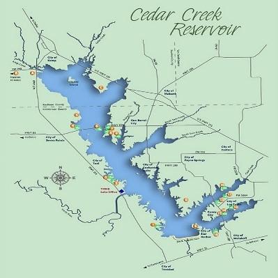 Cedar Creek Lake Fishing GPS Fishing Hotspots - Fishing hotspot maps