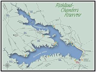 Richland Chambers Fishing GPS Fishing Hotspots - Fishing hotspot maps