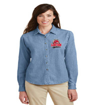 Lake Gem Ladies Long Sleeve Denim Button-up