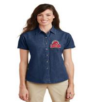 Lake Gem Ladies Short Sleeve Denim Button-up