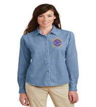 Millennia Ladies Long Sleeve Denim Button-up