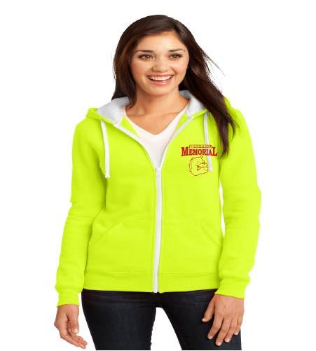 Memorial ladies zip-up hooded sweatshirt w/ left chest print