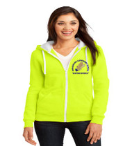 Hungerford ladies zip-up hooded sweatshirt w/ embroidery