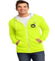 Dillard Street neon yellow men's zip up hoodie