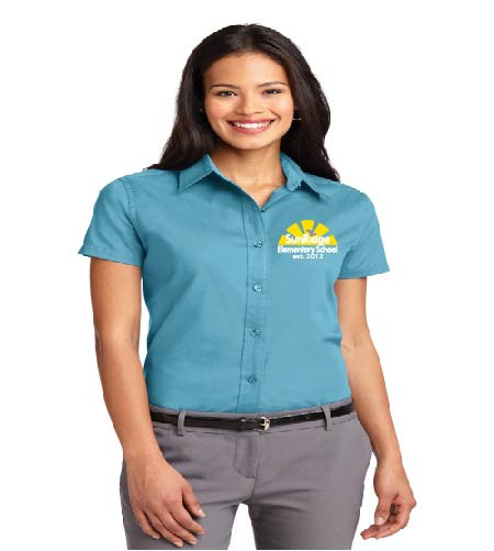 SunRidge ladies short sleeve button-up shirt w/ embroidery