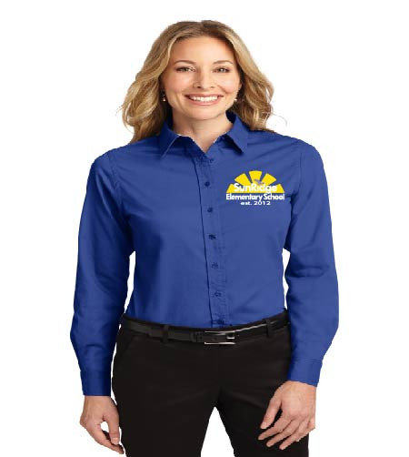 SunRidge Elementary ladies long sleeve button-up shirt w/ embroidery