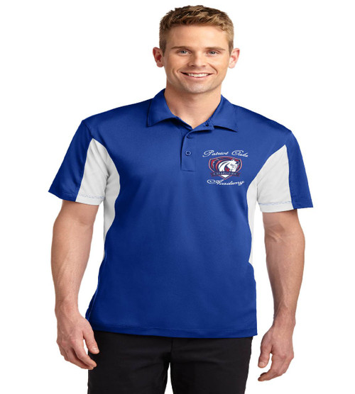 Patriot Oaks men's color block dri fit polo