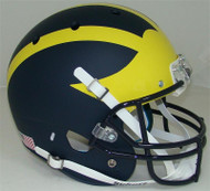 Michigan Wolverines MATTE BLUE Finish Schutt Full Size Replica Helmet