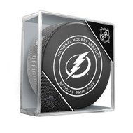 Tampa Bay Lightning Inglasco Official NHL Game Puck in Cube