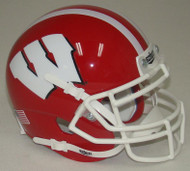 Wisconsin Badgers Alternate Red with White Stripe Schutt Mini Authentic Helmet