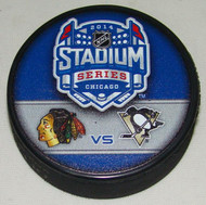 2014 NHL Stadium Series Chicago Dueling Souvenir Game Puck - Blackhawks vs. Penguins