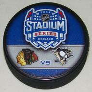 2014 NHL Stadium Series Chicago Dueling Souvenir Game Puck - Blackhawks vs. Penguins