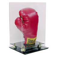 Deluxe Single Vertical Boxing Glove Display with Gold Risers