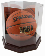 DELUXE WOOD BASE FULL SIZE BASKETBALL OCTAGON DISPLAY CASE