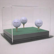 Deluxe Acrylic Triple Golf Ball Display Case with Tees