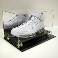 DELUXE BASKETBALL SINGLE SHOE DISPLAY CASE HOLDER to SIZE 22 w/ Gold Risers