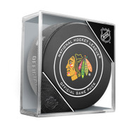 Chicago Blackhawks Inglasco Official NHL Game Puck in Cube