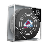 Colorado Avalanche Sherwood Official NHL Game Puck in Cube