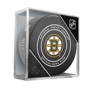 Boston Bruins Inglasco Official NHL Game Puck in Cube