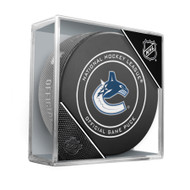 Vancouver Canucks Inglasco Official NHL Game Puck in Cube