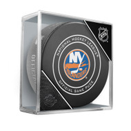 New York Islanders Sherwood Official NHL Game Puck in Cube