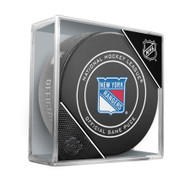 New York Rangers Sherwood Official NHL Game Puck in Cube