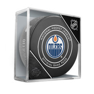 Edmonton Oilers Sherwood Official NHL Game Puck in Cube