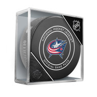 Columbus Blue Jackets Inglasco Official NHL Game Puck in Cube