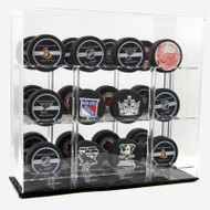 ACRYLIC 12 HOCKEY PUCK DISPLAY CASE with Black Base