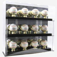 DELUXE ACRYLIC 12 BASEBALL DISPLAY CASE with GOLD GLOVES