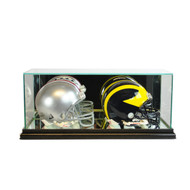 Deluxe Real Glass Double Mini Helmet Display Case