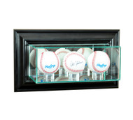 Deluxe Real Glass Wall Mounted Triple Baseball Display Case