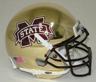 Mississippi State Bulldogs Alternate Gold Chrome Schutt Mini Authentic Helmet