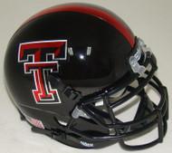 "Texas Tech Red Raiders Alternate ""Guns Up"" Black and Red Stripe Schutt Mini Authentic Helmet"