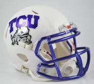 TCU Texas Christian Horned Frogs Alternate White Chrome NCAA Revolution SPEED Mini Helmet