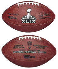 Super Bowl XLIX (Forty-Nine 49) Seattle Seahawks vs. New England Patriots Official Leather Authentic Game Football by Wilson