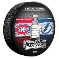 2015 NHL Stanley Cup Playoff Sherwood Souvenir Dueling Puck - Lightning vs. Canadiens