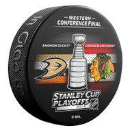 2015 NHL Stanley Cup Playoff Sherwood Souvenir Dueling Puck - Blackhawks vs. Ducks