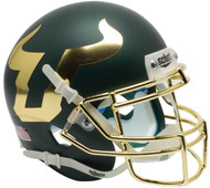 South Florida Bulls Alternate Matte Green and Gold Chrome Schutt Mini Authentic Helmet