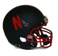 Nebraska Cornhuskers Alternate Black Chrome Schutt Full Size Replica Helmet