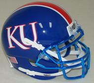 Kansas Jayhawks Alternate Blue with CHROME Mask Schutt Mini Authentic Helmet