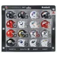16 NFL Pocket Pro Size Speed Mini Helmets - AFC Set by Riddell