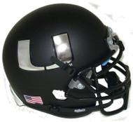 Miami Hurricanes Alternate Black Chrome Schutt Mini Authentic Helmet