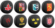 All 8 - 2016 World Cup of Hockey Logo Souvenir Hockey Pucks - Includes All 8 Team Pucks