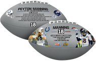 Peyton Manning NFL Career Accomplishments Silver Autograph Signature Full Size Football