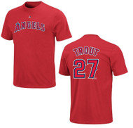 Mike Trout Los Angeles Angels Majestic Official Name and Number MEN'S T-Shirt - Red 4XL